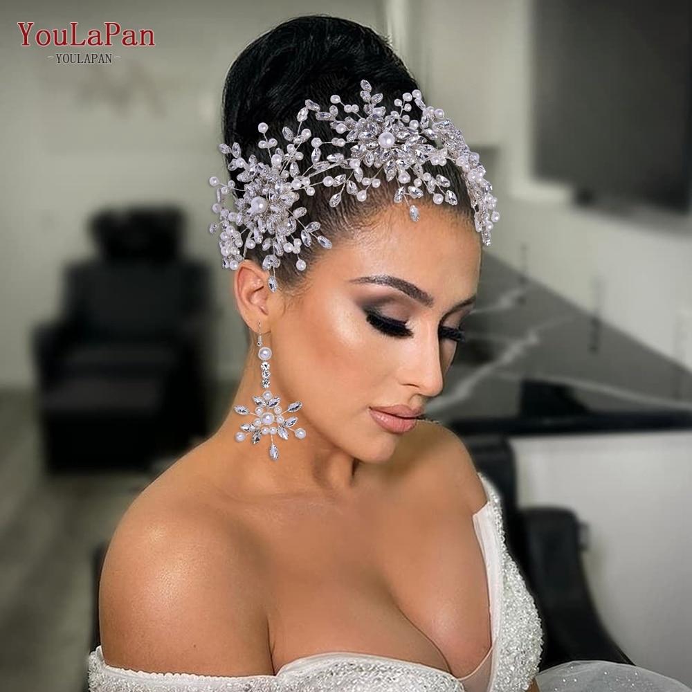 YouLaPan HP389 Trendy Pearl Headband Rhinestone Bridal Hair Tiara Pageant Party Crown Jewelry Hair Ornaments Wedding Accessories недорого