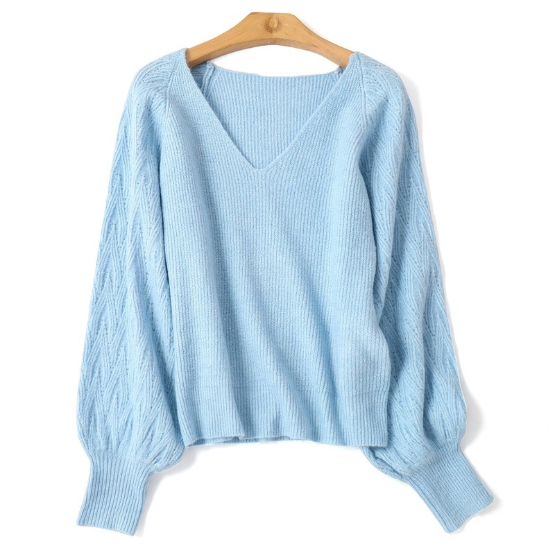 Autumn winter 2020 new women's clothing Korean fashion loose V-neck solid color long sleeve knitted bottomed sweater for women