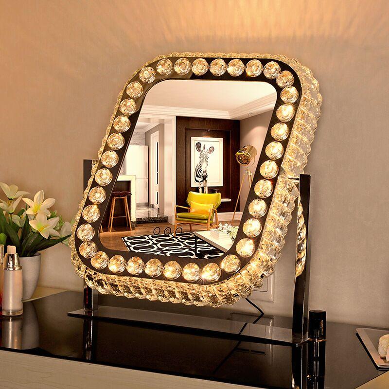 مصباح مكتب زجاجي LED ، مرآة زينة لغرفة النوم ، مصباح طاولة لمستحضرات التجميل