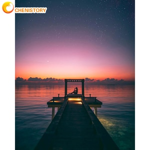 CHENISTORY 60x75cm Frame Diy Painting By Numbers Kits For Adults Modern Bridge Sunset Seacape Modern Canvas By Numbers Diy Gift