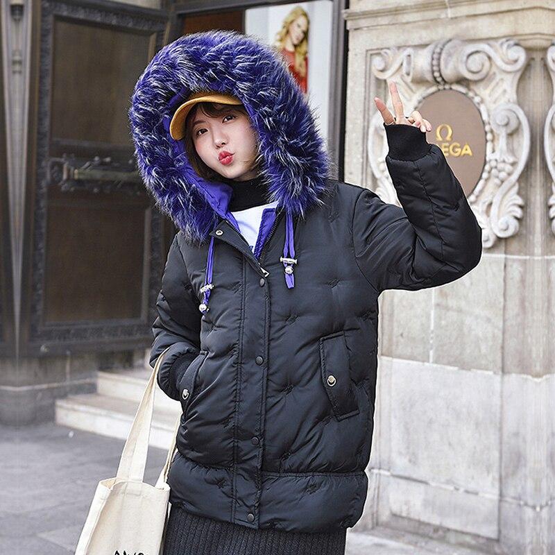 Chaqueta Parkas de manga larga informal holgada de talla grande para mujer bonita nueva moda Otoño Invierno chaqueta con capucha chaqueta con cuello de piel abrigo