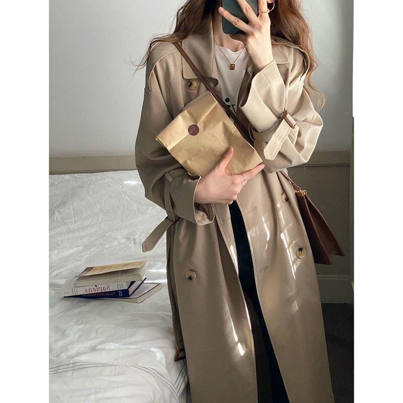 Khaki Women Trench Windbreaker Female Spring And Autumn 2021 New Korean Medium And Long Coat Small A