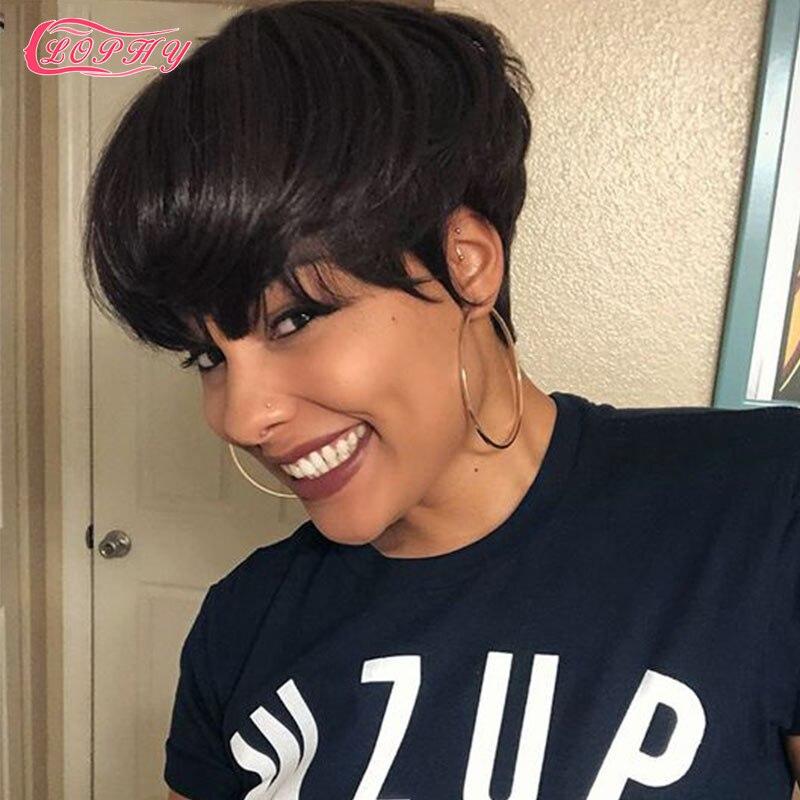 Short Bob Wig With Bangs Pixie Cut Human Hair Wigs Straight No Lace Full Manchine Wig Human Hair Cheap Wig For Black Women