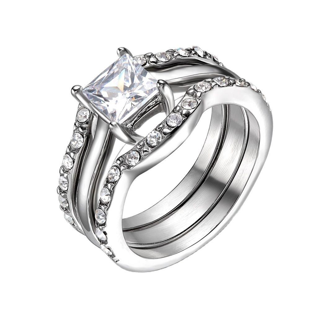 Anillo de boda de circonia cúbica transparente para mujer, conjunto de anillos...
