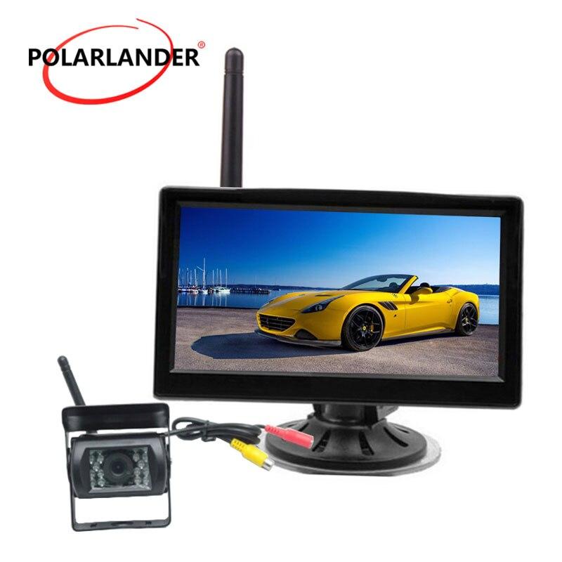 Monitor wireless embutido de 12 24v para carro, caminhão de carro, 5 polegadas, tft, lcd, transmissor para estacionamento da câmera traseira kit 2ch entrada de vídeo