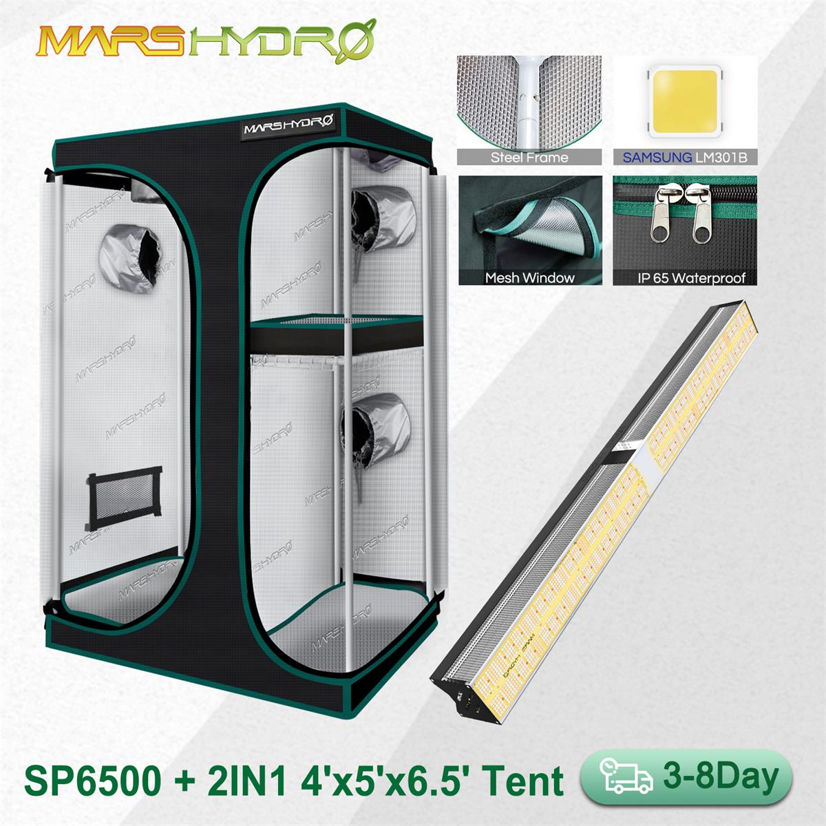 Mars Hydro SP 6500  2IN1 150x120CM Grow Tent Led Grow Light SAMSUNG LM301B Dimmable Full Spectrum Phytolamp for Indoor Plants