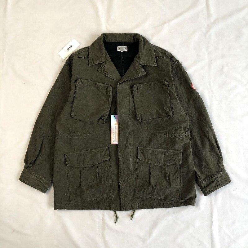 قماش ثقيل قماش متعدد الجيوب للدراجات النارية CAVEMPT C.E سترة أبلى زر معطف