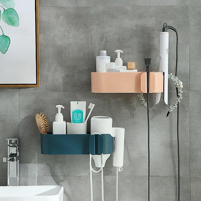 Rejilla almacenamiento para baño, estante De plástico para secador De pelo, jabón...