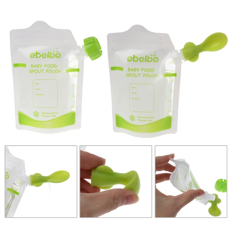 10 PCS Baby Food Pouches Feeding Supplies Bag Double Zippers Reusable Food Pouch Refillable Complementary Food Box