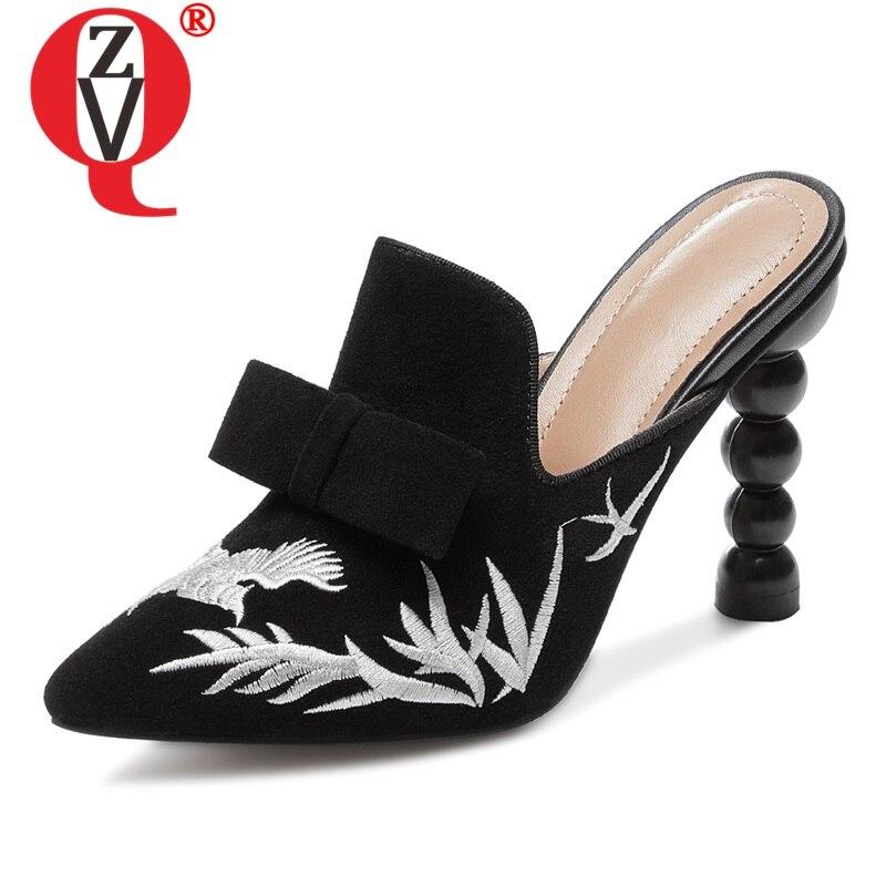 ZVQ Frau Schaffell Leder Hausschuhe Sexy Super High Heel Frauen Schuhe Frühjahr Bestickt Blume Muster Im Freien Maultiere Schuhe