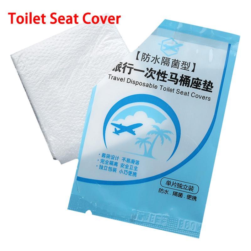 Almofadas de assento do toalete da almofada do wc da segurança portátil da esteira das tampas descartáveis do assento do toalete do curso 1/10/50 pces para o banheiro de acampamento