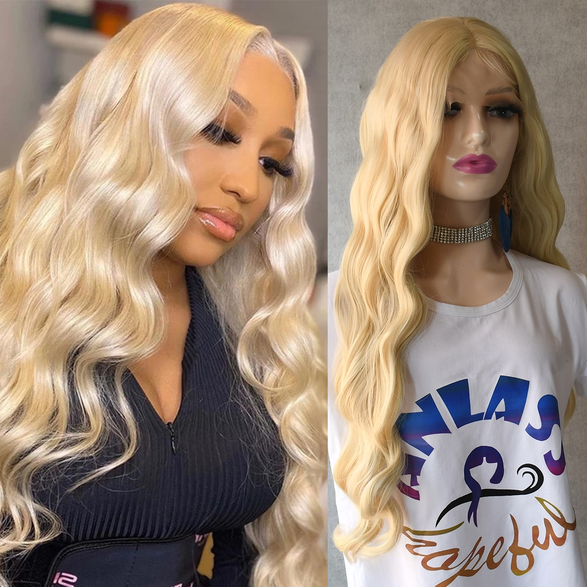 613 Blonde Lace Front Wig Transparent 28inch Long Water Wave Wig Synthetic Lace Wig  For Women Hallo