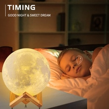 3D Print LED Night Light For Bedroom Deco Moon Lamp Moonlight Rechargeable Remote Color Change Child