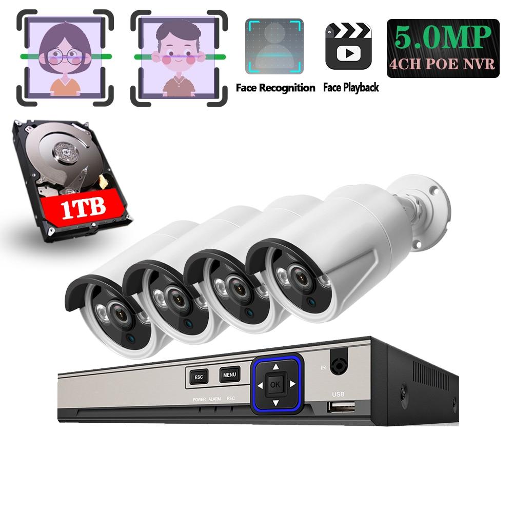 H.265+ 4CH POE System 5.0MP Face capture IP Camera Metal Outdoor Network 3PCS IR LED Array CCTV Security System Surveillance Kit