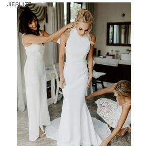 JIERUIZE White Simple Mermaid Wedding Dresses High neck zipper back Bridal Dresses vestido de novia