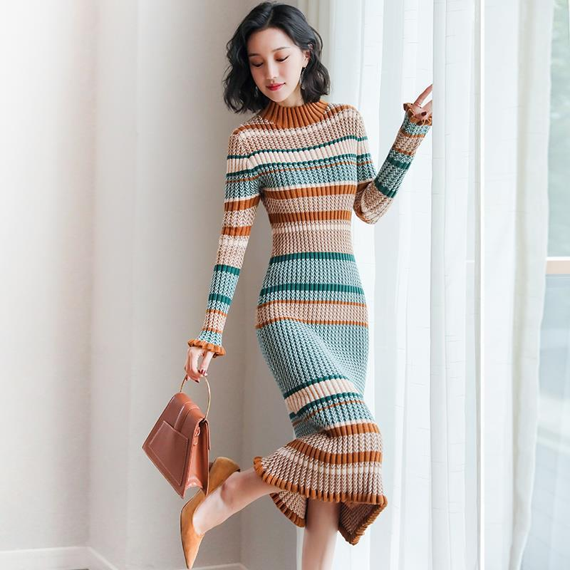 Autumn Winter Elegant Striped Sweater Dress Vintage Slim Turtleneck Long Sleeve Twist Knitted Dress Female Midi Pleated Dress enlarge