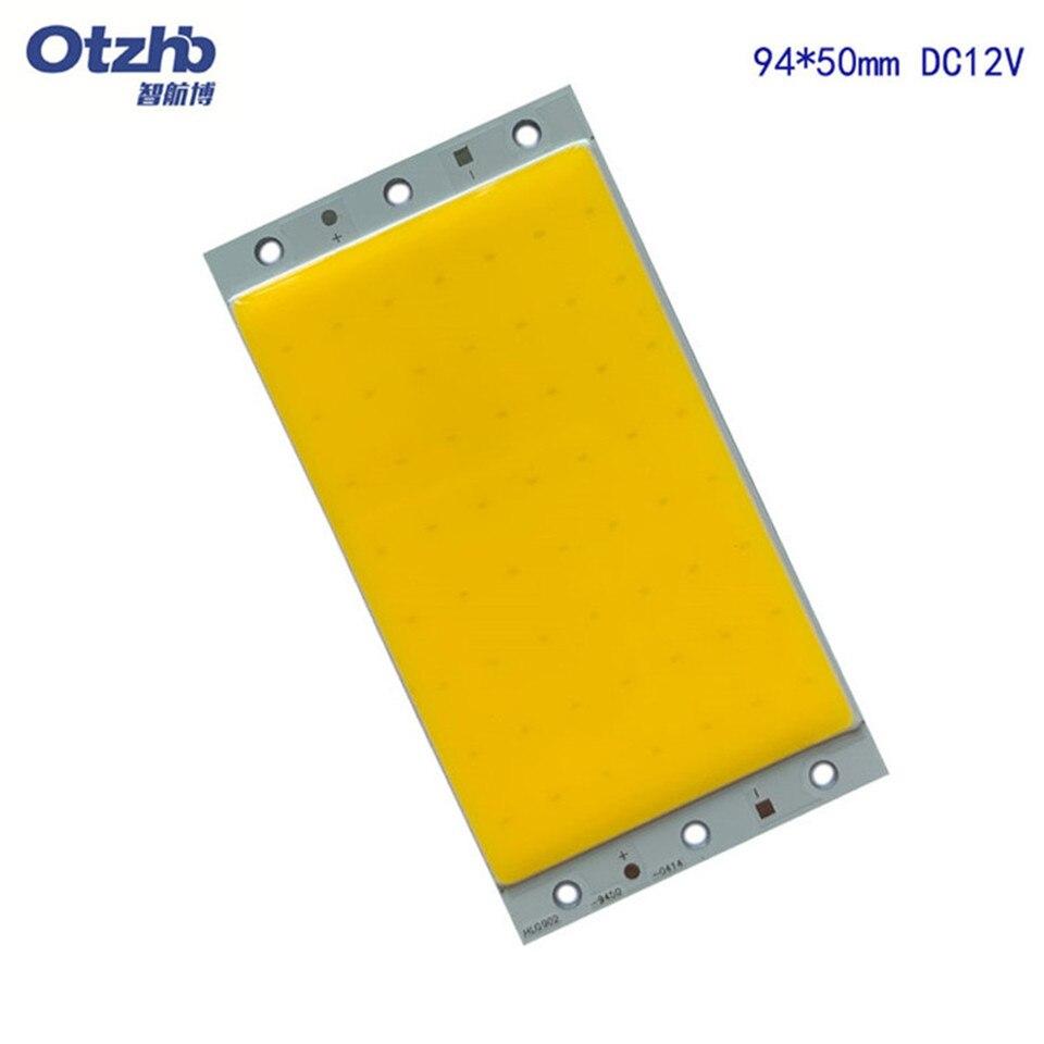 5 piezas 12Wcob módulo led Panel de luz LED 94x50MM 1500LM caliente Ultra brillante Natural blanco frío azul DC 12V 15W COB de lámpara LED