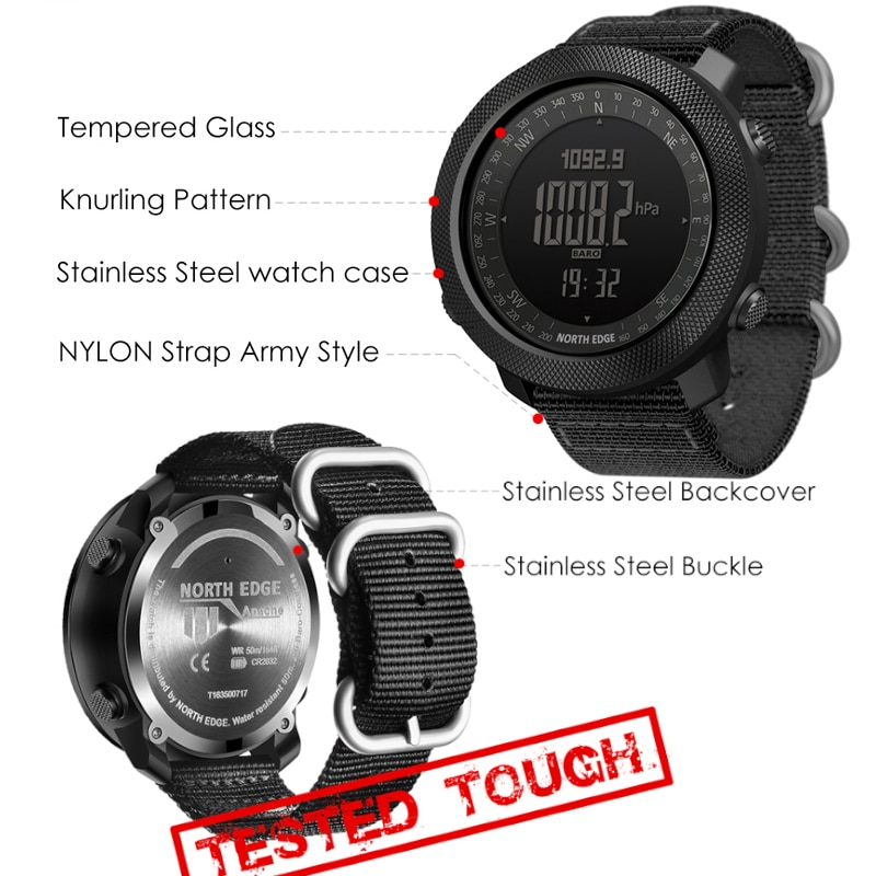 North Edge Smart Watch Men Sport Hiking Altimeter Speedometer Smartwatch 2020 Barometer Compass Fitness Tracker Digital Wearable enlarge
