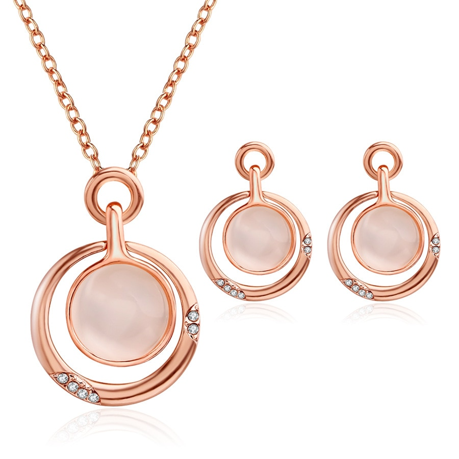 TYI106 redondo de las mujeres Opal pendiente multicapas pendientes conjunto de joyas de cristal joyas para mujer conjunto