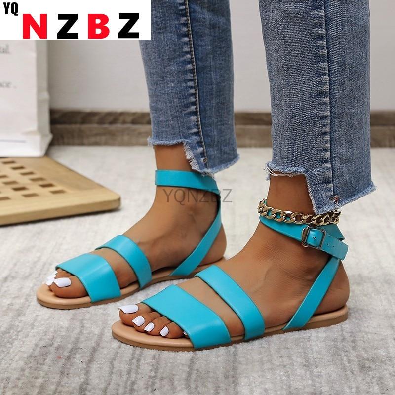 Women Sandals Summer 2021 Female Shoes Woman Peep-toe PU Comfortable Sandals Flat Sandals Female Sandalias Plus Size 43