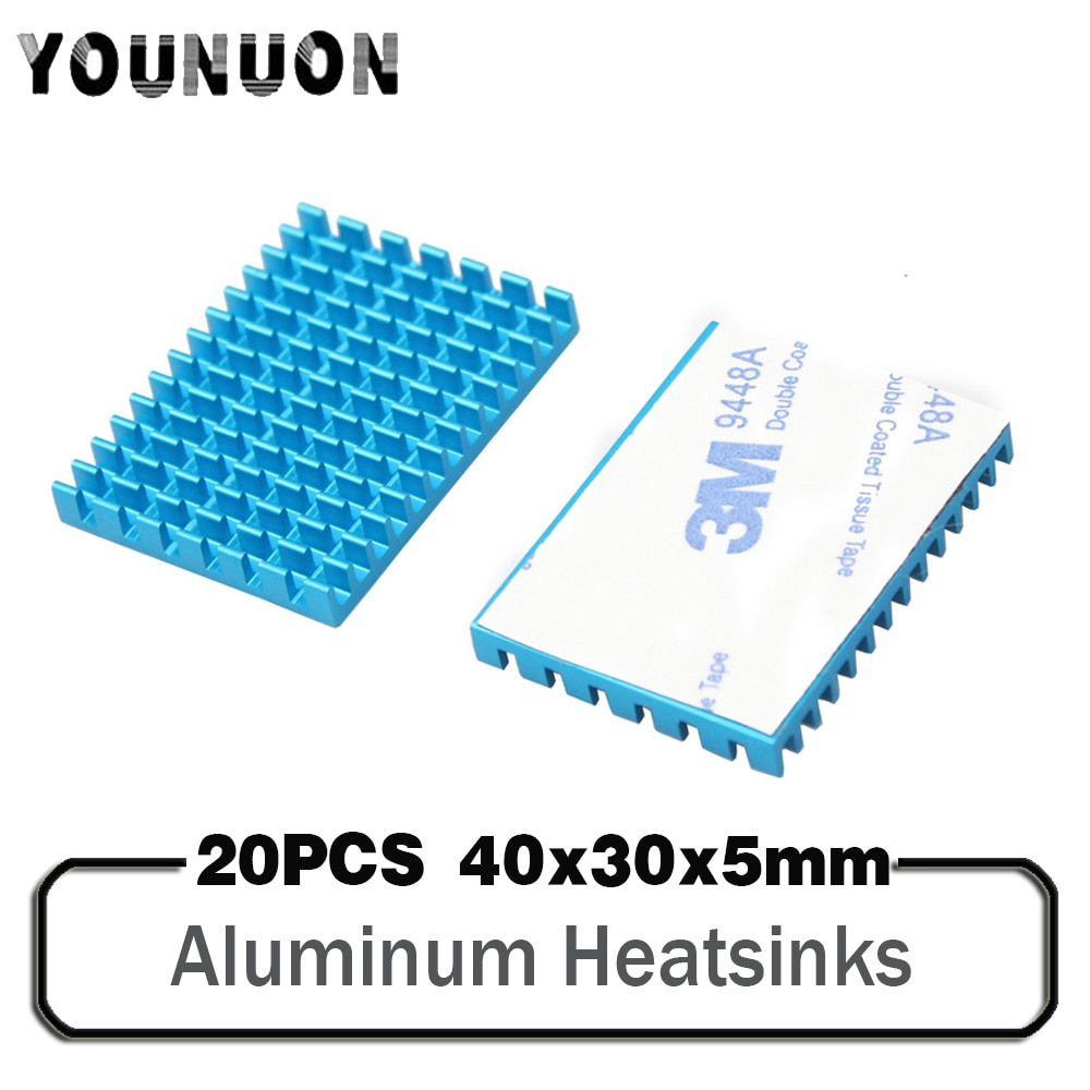 20PCS 40x30x5mm Aluminum Heat Sink Blue Aluminum profile heat sink chip IC CPU Router memory PCB board Electronic cooler