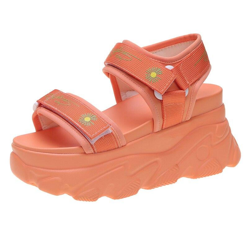 2020 женские сандалии на платформе; Обувь на массивном каблуке; Брендовая модная женская повседневная обувь с открытым носком и цветочным узо...