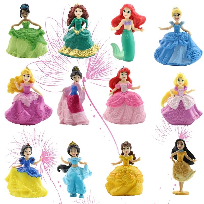 12 Style Q Posket Fairy Princess Doll Arale Anna Elsa Cinderella Jasmine Snow White PVC Princess Figure Girl Toy Cake Decoration
