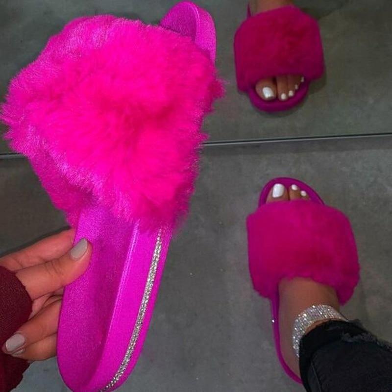 Sandalias de plataforma peluda para mujer, zapatos abiertos de Punta abierta para caminar en la playa, zapatos de moda informales para mujer, deslizadores esponjosos