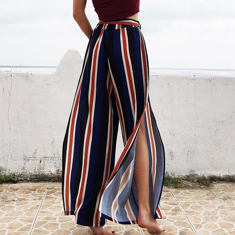 Pantalones de pierna ancha a rayas holgados de calle alta, para vacaciones, de gasa con Raja alta, pantalones Palazzo para mujer