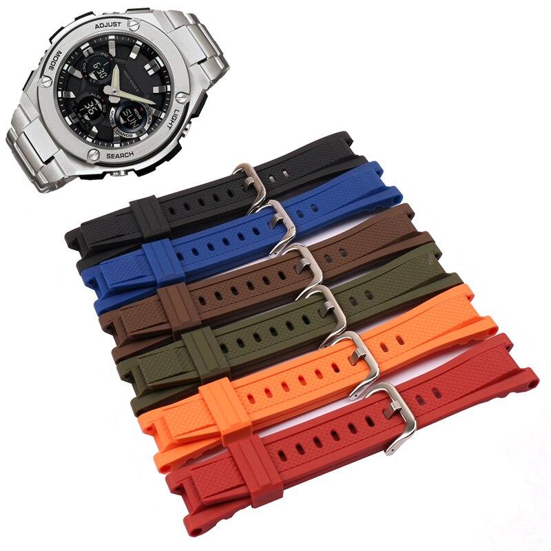 Rubber Strap men's watch accessories for Casio GST-210B GST-S110 S100G GST-W110 W100G stainless steel strap watch band