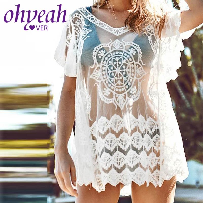 Ohyeahlover v-cuello vestidos De playa De encaje transparente Sexy Vestido De fiesta verano Floral manga corta llamarada encantadora mujer BL385
