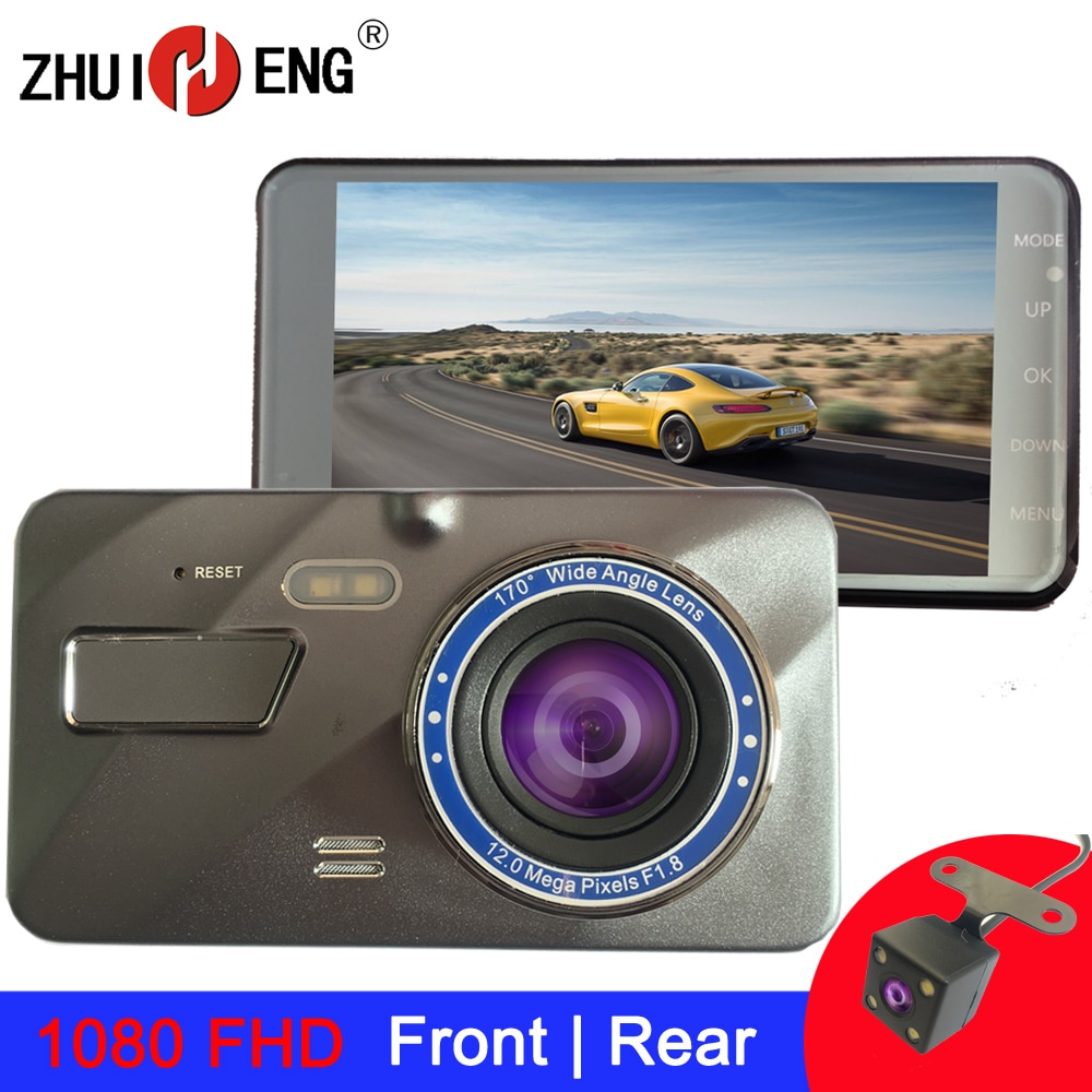 ZHUIHENG 4 Inch Dash cam 2.5D car camera 1980*1080 FHD  DashCam car dvr Dual Lens rear view camera Driving Recorder dvr camera