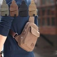 solid canvas bag simplicity zipper travel mens military canvas satchel shoulder bag travel hiking backpack