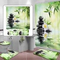 Nouveau rideau de douche 3D en bambou vert  decoration de salle de bains  rideau de douche en bambou vert  tapis de couverture de toilette  ensemble antiderapant