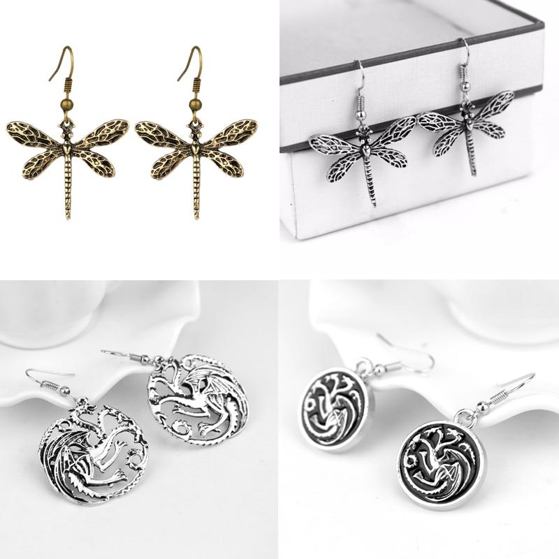 Pendientes de gota de Juego de tronos DRAGÓN DE Targaryen Sansa Stark dije de libélula pendientes colgantes para Mujeres Hombres regalos