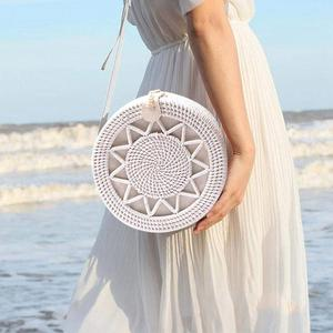 Rattan Braided Bag Women Wicker Hand Woven Round Straw Beach Shoulder Bags White Retro Natural Tote Crossbody Bag Handbags Gift