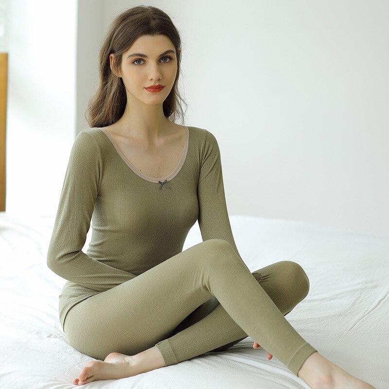 جديد أنيق القوس الدانتيل طويل جونز النساء الشتاء ساخنة ملابس اخلية حرارية مجموعات س الرقبة ضئيلة Bodycon الإناث الملابس الحرارية الدافئة دعوى