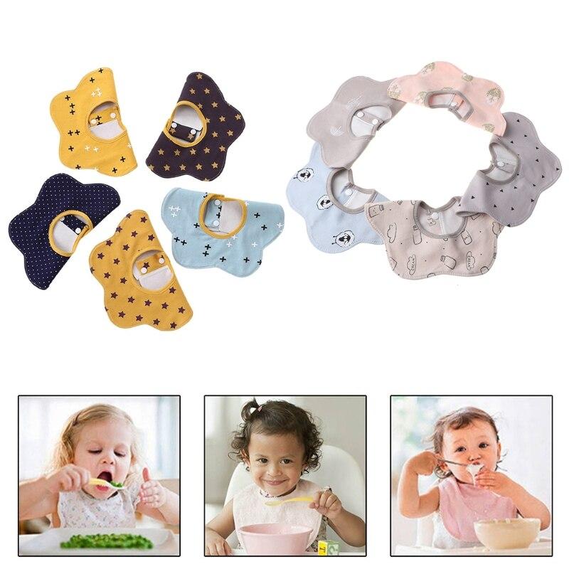 pigeon newborn pure travel set 5pcs/set Newborn Baby Pure Cotton Waterproof Flower Bibs Feeding Burp Cloths