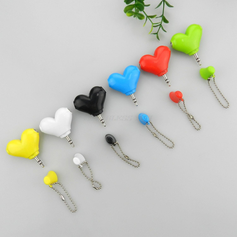 Auriculares estéreo de 3,5mm con forma de corazón, adaptador de conector divisor de auriculares, envío bonito