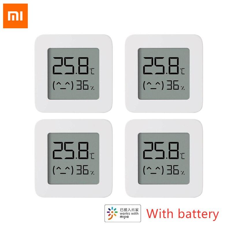 Termômetro digital xiaomi mijia 2 sem fio, compatível com aplicativo mijia, termômetro elétrico