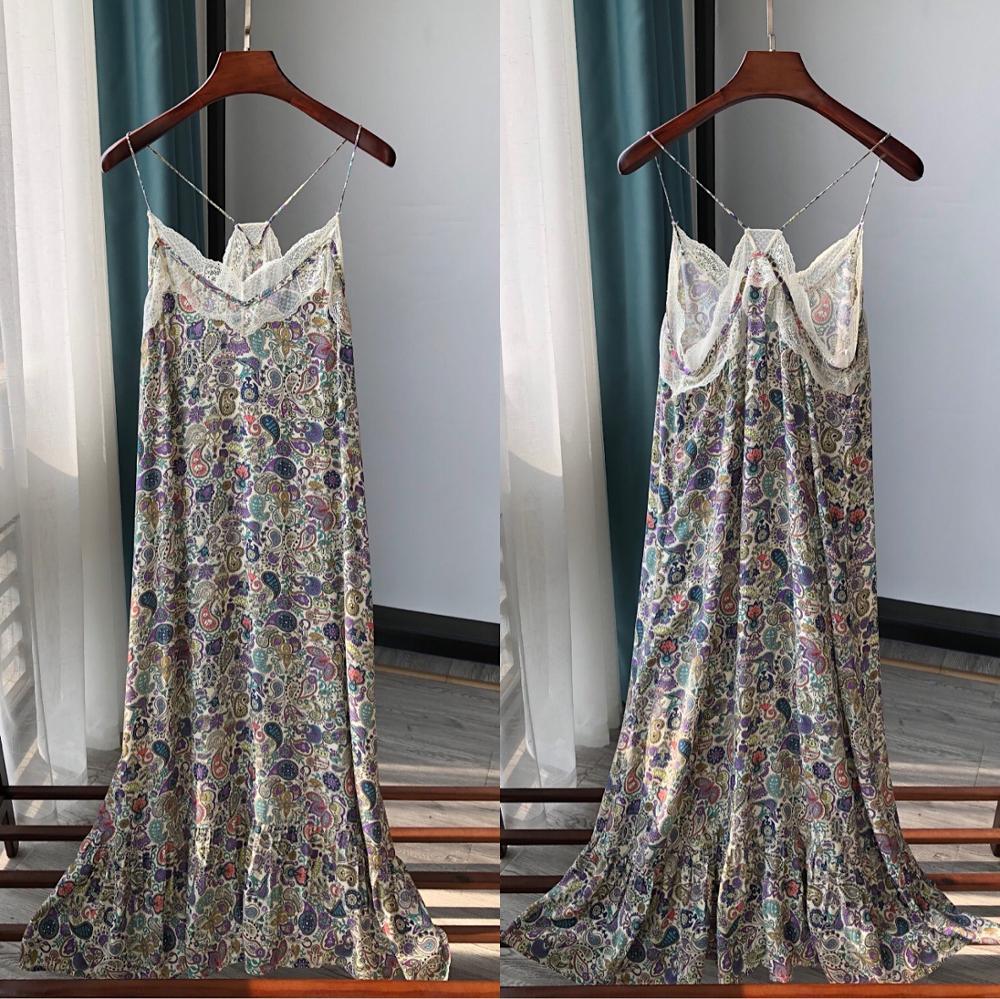 Retro colorful printing ladies strap dress stitching lace casual lady midi dress