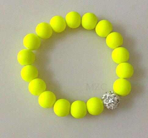 Hfg34 neon fluorescência doce cor contas disco cristal pulseira bola suporte estiramento pulseiras