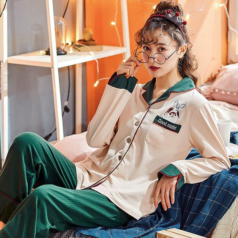 بيجامة فتاة الخريف الربيع قميص قطني بكم طويل جميل البدلة الطازجة الحلو Homewear مجموعة