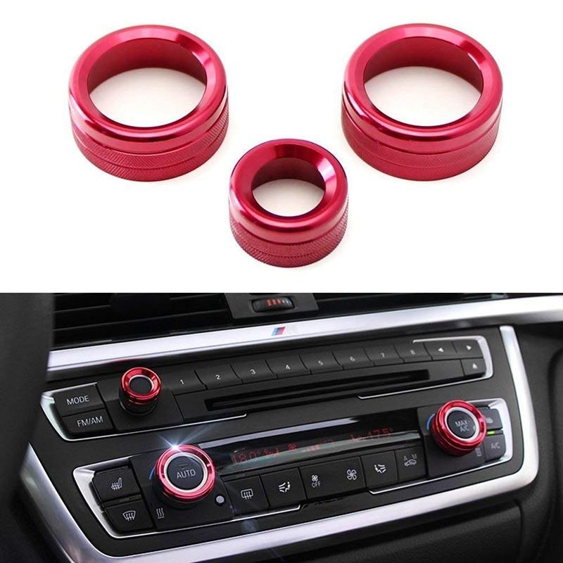 AC Climate Control and Radio Volume Knob Ring Covers for BMW 1 2 3 3GT 4 Series (F20 F22 F30 F31 F32 F33 F80 F82 F87) 3Pcs Red