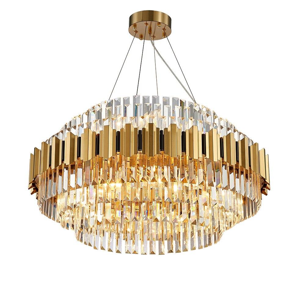 مصباح سقف معلق دائري مصنوع من الكريستال والفولاذ المقاوم للصدأ ، نمط آرت ديكو ، بيضاوي ، ذهبي ، إضاءة داخلية ، مثالي للعرض