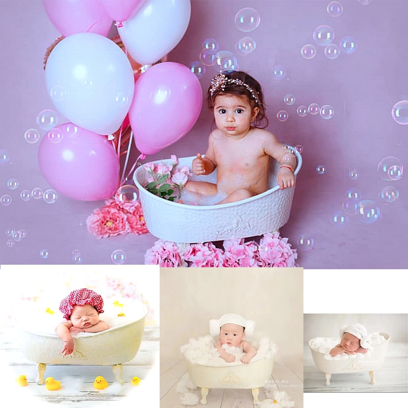 Baby Cribes Iron Shower Bathtub Cotton Ducks Set Children Bubble Machine Furniture Photo Accessories Newborn Photography Props