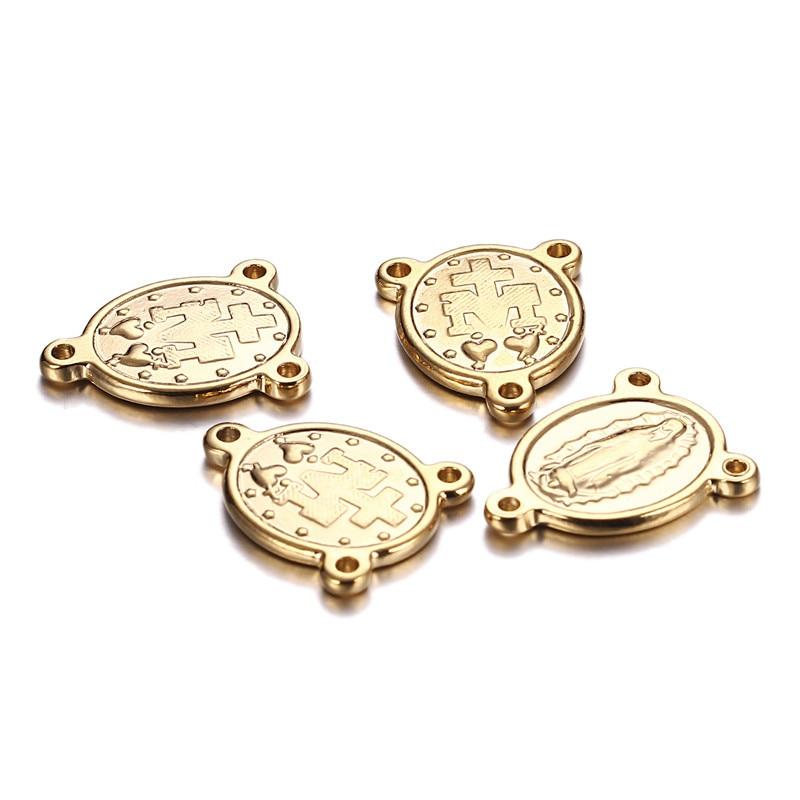 Colgante de acero inoxidable con tres agujeros, Medalla, Virgen, María, conector, Jesús,...