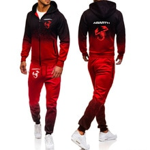 Spring Autumn Tracksuit Suit Abarth Car Logo Printing Casual Gradient Cotton High quality Men's jack