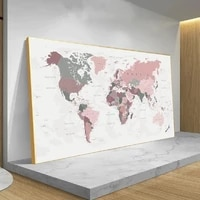 big size world map pink colors canvas painting poster print wall art canvas wall picture for living room home decor cuadros