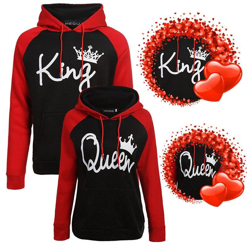 Wepbel moletom mulheres amantes dos homens pullovers casal rainha rei impressão hoodies parchwork retalhos topos treino